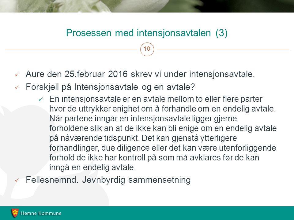 Prosessen med intensjonsavtalen (3) 10 Aure den 25.februar 2016 skrev vi under intensjonsavtale.