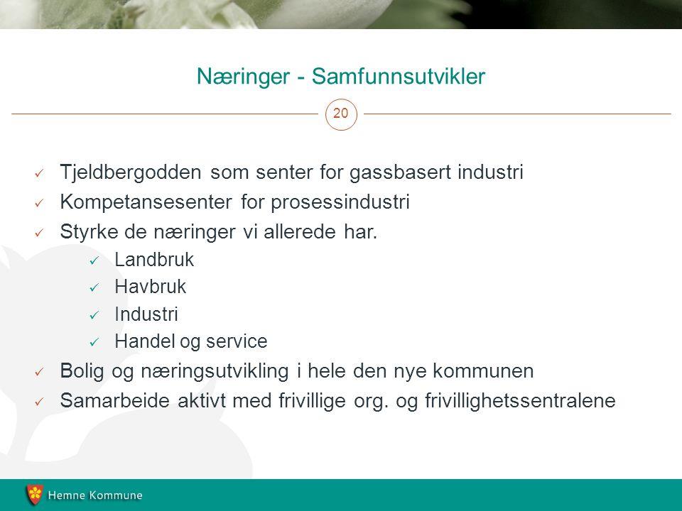 Næringer - Samfunnsutvikler 20 Tjeldbergodden som senter for gassbasert industri Kompetansesenter for prosessindustri Styrke de næringer vi allerede har.