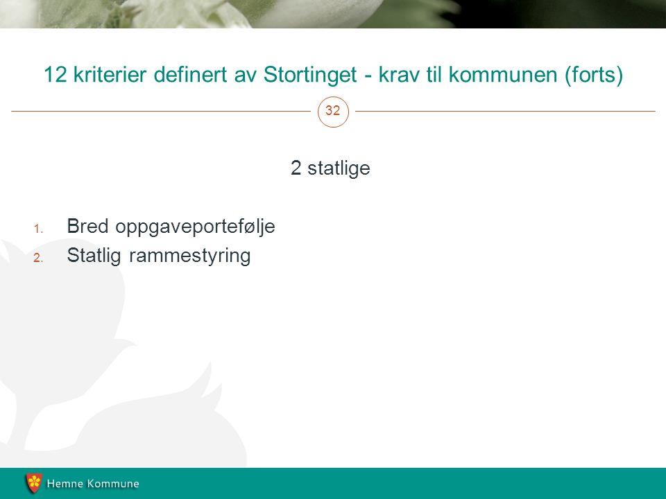12 kriterier definert av Stortinget - krav til kommunen (forts) 32 2 statlige 1.