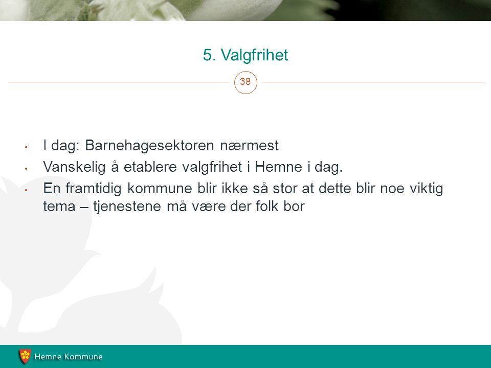 5. Valgfrihet 38 I dag: Barnehagesektoren nærmest Vanskelig å etablere valgfrihet i Hemne i dag.