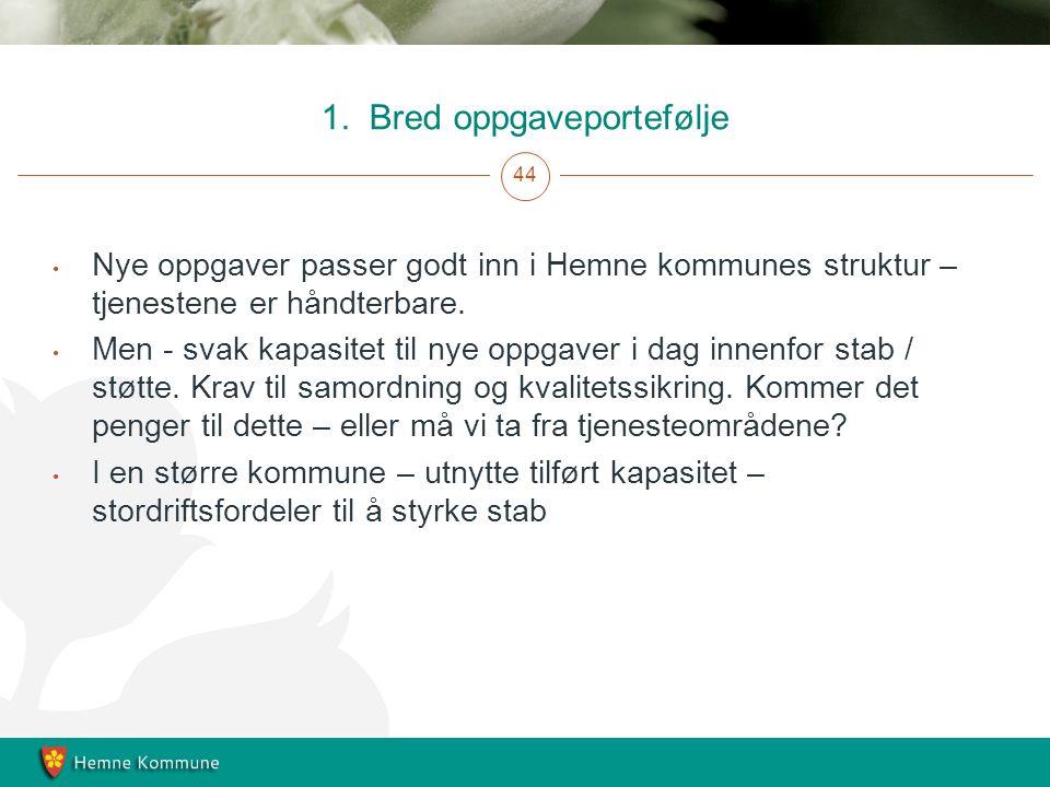 1. Bred oppgaveportefølje 44 Nye oppgaver passer godt inn i Hemne kommunes struktur – tjenestene er håndterbare. Men - svak kapasitet til nye oppgaver