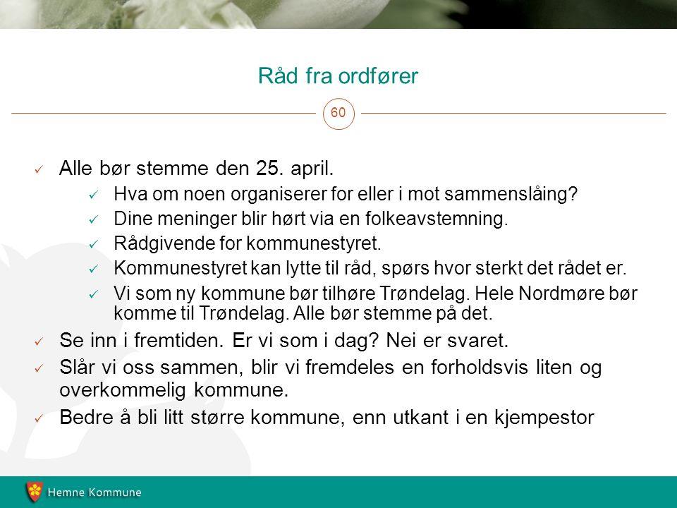 Råd fra ordfører 60 Alle bør stemme den 25. april.