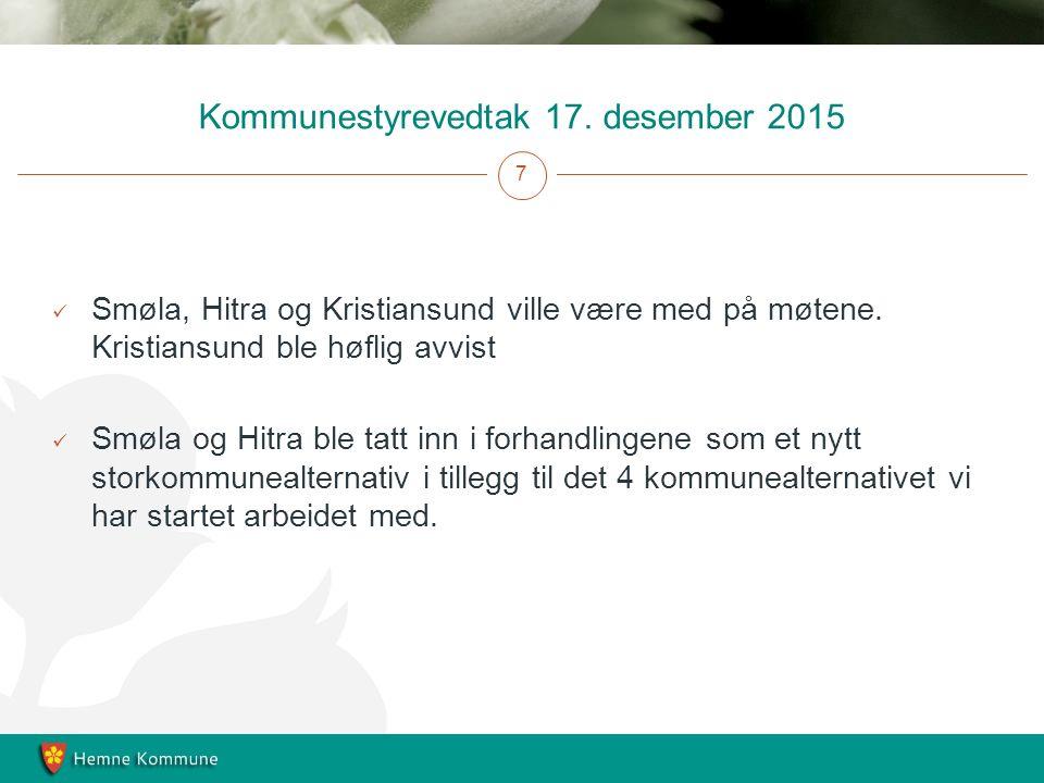 Kommunestyrevedtak 17. desember 2015 7 Smøla, Hitra og Kristiansund ville være med på møtene.