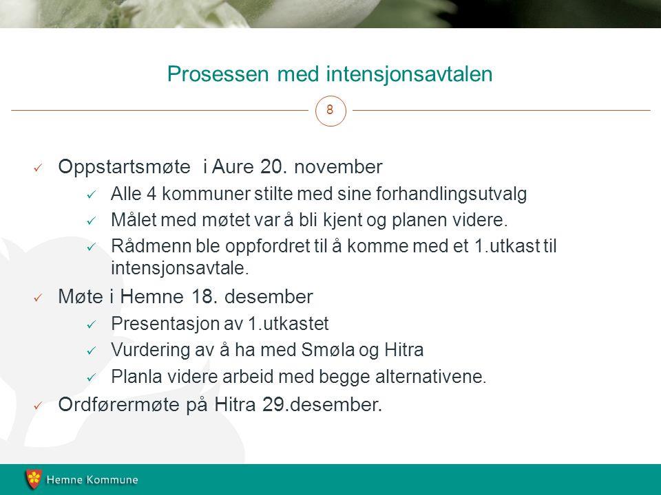 Prosessen med intensjonsavtalen 8 Oppstartsmøte i Aure 20.