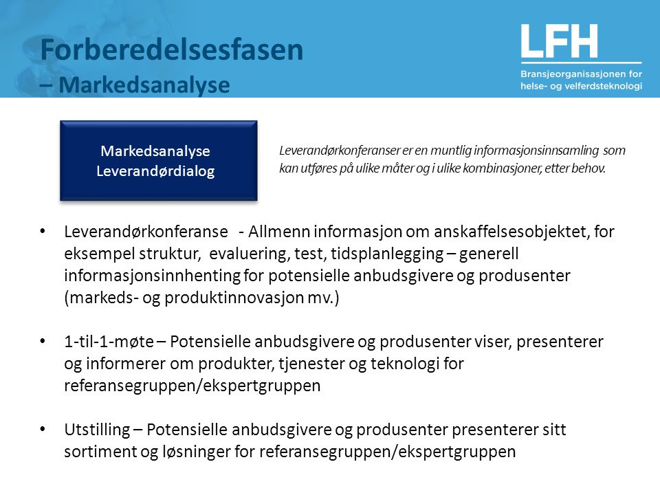 Forberedelsesfasen – Markedsanalyse Markedsanalyse Leverandørdialog Leverandørkonferanser er en muntlig informasjonsinnsamling som kan utføres på ulike måter og i ulike kombinasjoner, etter behov.