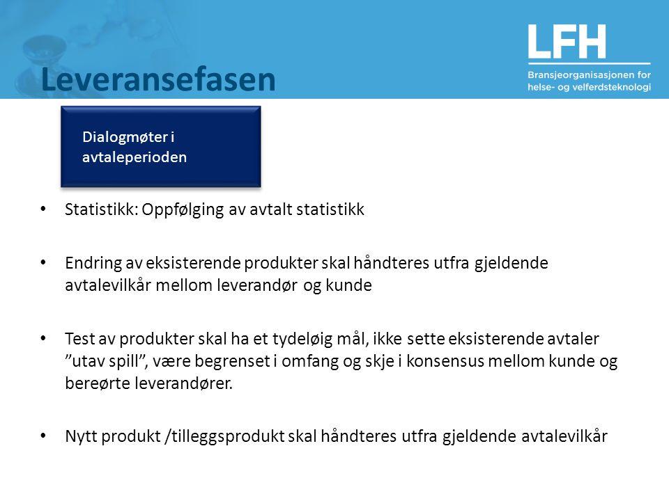 Leveransefasen Dialogmøter i avtaleperioden Statistikk: Oppfølging av avtalt statistikk Endring av eksisterende produkter skal håndteres utfra gjelden