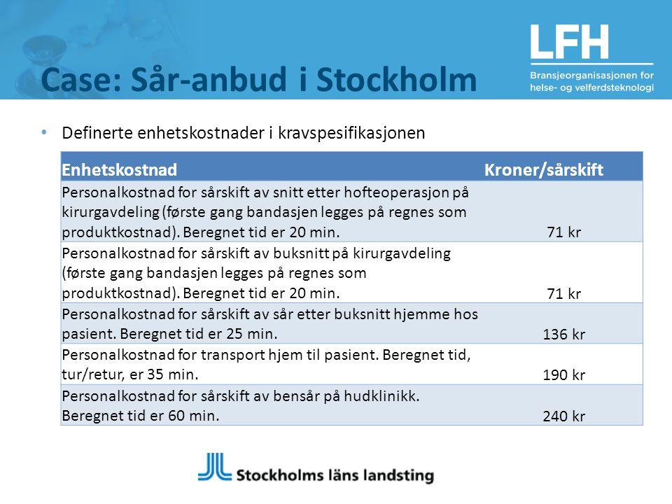 Case: Sår-anbud i Stockholm Definerte enhetskostnader i kravspesifikasjonen EnhetskostnadKroner/sårskift Personalkostnad for sårskift av snitt etter hofteoperasjon på kirurgavdeling (første gang bandasjen legges på regnes som produktkostnad).