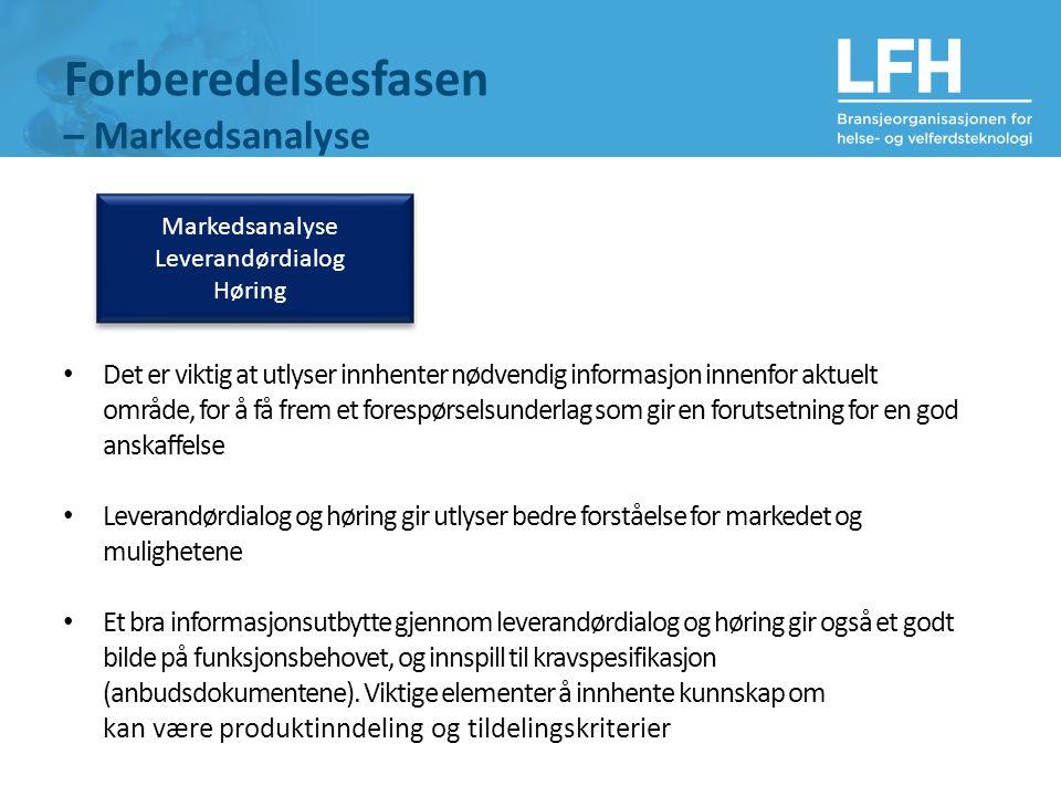 Markedsanalyse Leverandørdialog Høring Forberedelsesfasen – Markedsanalyse Det er viktig at utlyser innhenter nødvendig informasjon innenfor aktuelt o