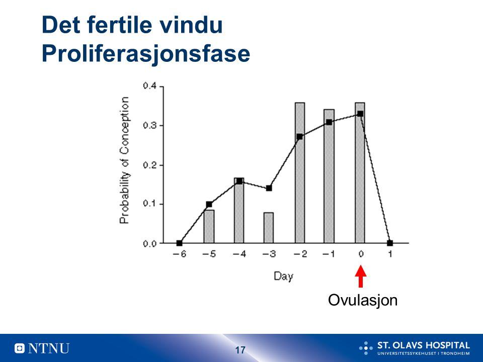 17 Det fertile vindu Proliferasjonsfase Ovulasjon