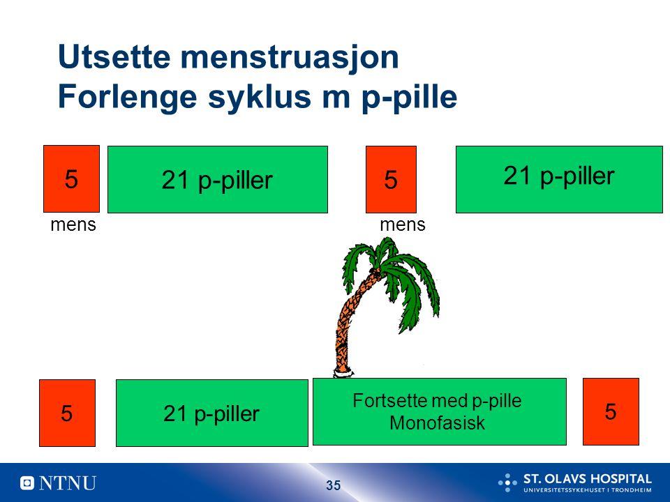 35 Utsette menstruasjon Forlenge syklus m p-pille 21 p-piller 5 5 mens 521 p-piller Fortsette med p-pille Monofasisk 5