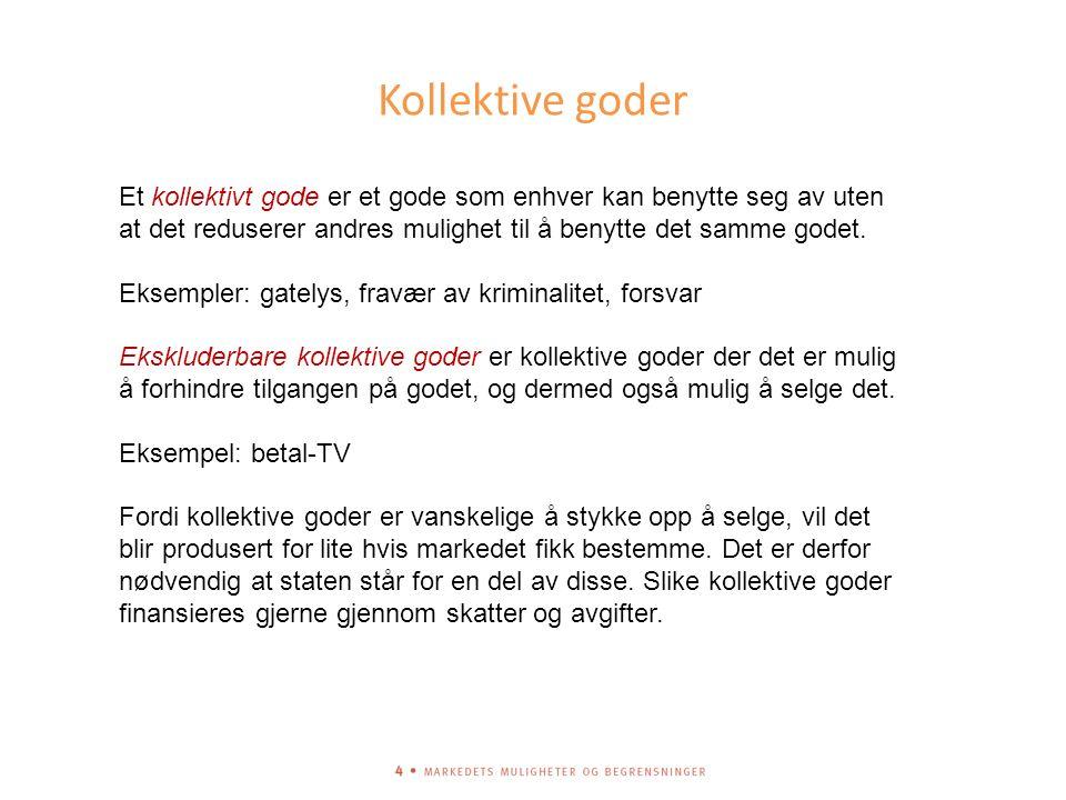 Kollektive goder Et kollektivt gode er et gode som enhver kan benytte seg av uten at det reduserer andres mulighet til å benytte det samme godet.