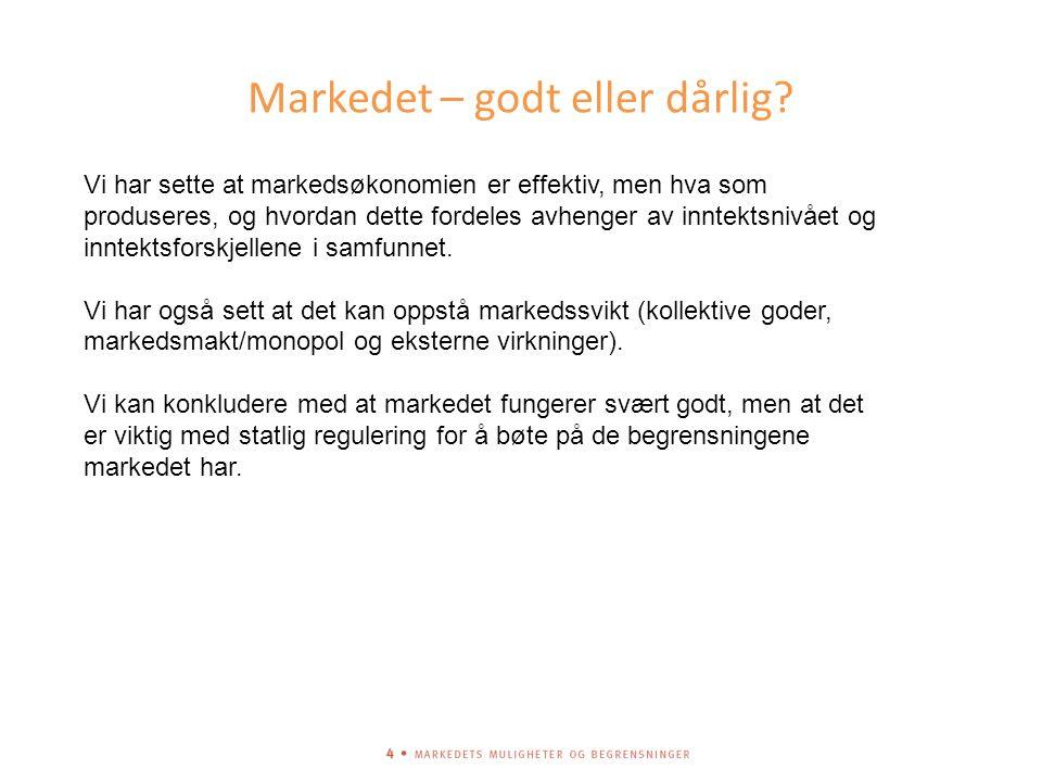 Markedet – godt eller dårlig.
