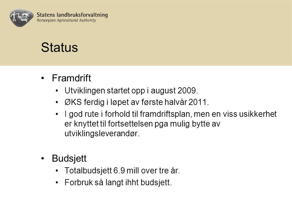 Status Framdrift Utviklingen startet opp i august 2009.