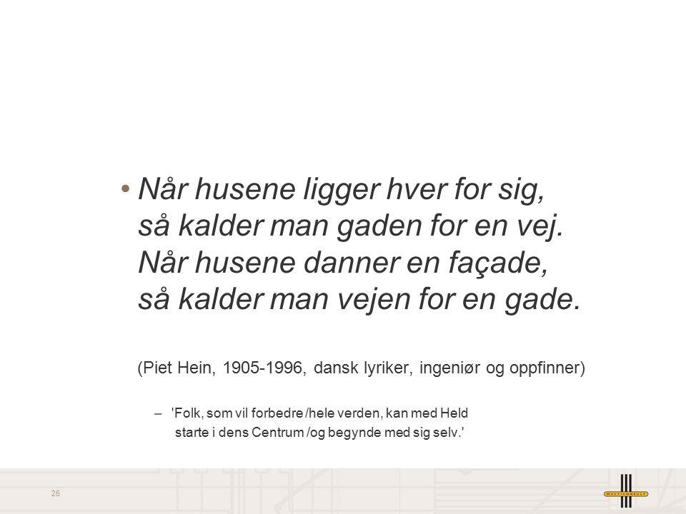 25 Når husene ligger hver for sig, så kalder man gaden for en vej. Når husene danner en façade, så kalder man vejen for en gade. (Piet Hein, 1905-1996