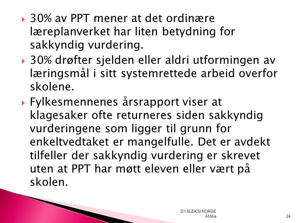  30% av PPT mener at det ordinære læreplanverket har liten betydning for sakkyndig vurdering.