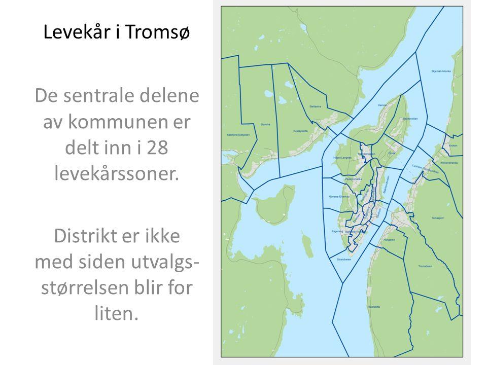 Levekår i Tromsø De sentrale delene av kommunen er delt inn i 28 levekårssoner.