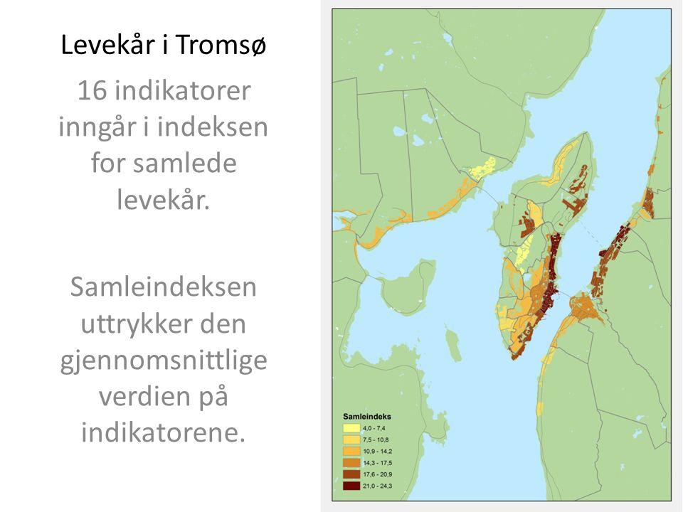 Levekår i Tromsø 16 indikatorer inngår i indeksen for samlede levekår.