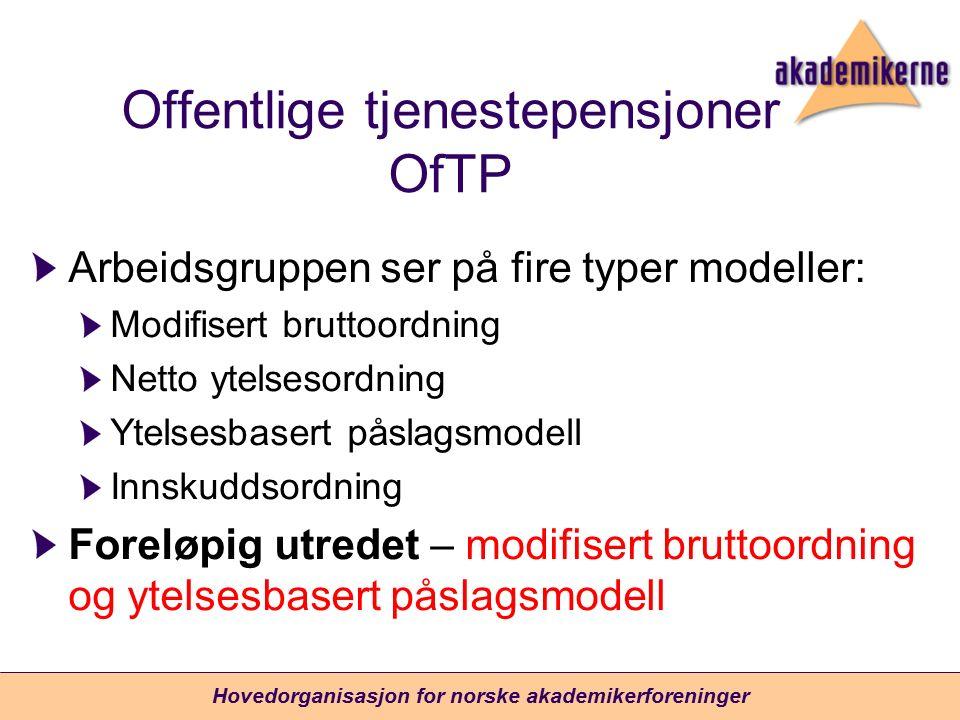 Offentlige tjenestepensjoner OfTP Arbeidsgruppen ser på fire typer modeller: Modifisert bruttoordning Netto ytelsesordning Ytelsesbasert påslagsmodell Innskuddsordning Foreløpig utredet – modifisert bruttoordning og ytelsesbasert påslagsmodell Hovedorganisasjon for norske akademikerforeninger