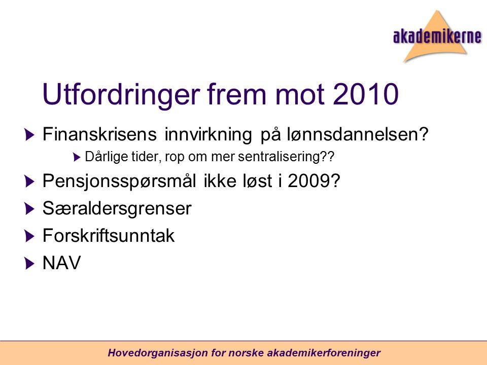 Utfordringer frem mot 2010 Finanskrisens innvirkning på lønnsdannelsen? Dårlige tider, rop om mer sentralisering?? Pensjonsspørsmål ikke løst i 2009?