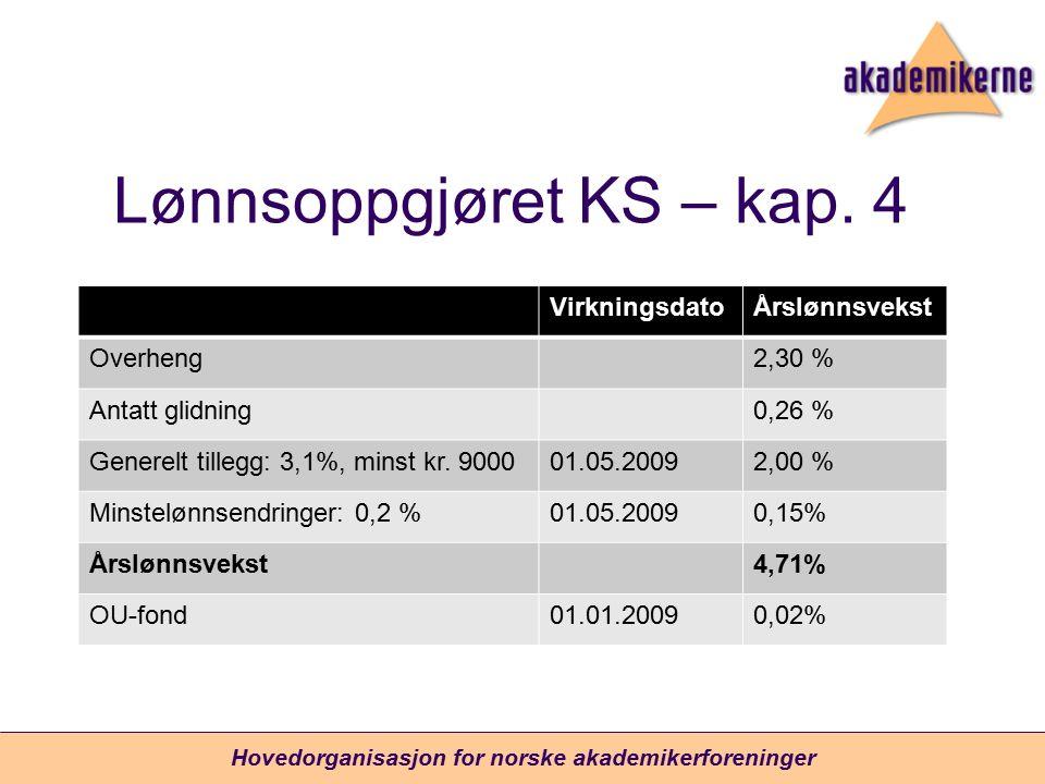 Lønnsoppgjøret KS – kap. 4 VirkningsdatoÅrslønnsvekst Overheng2,30 % Antatt glidning0,26 % Generelt tillegg: 3,1%, minst kr. 900001.05.20092,00 % Mins