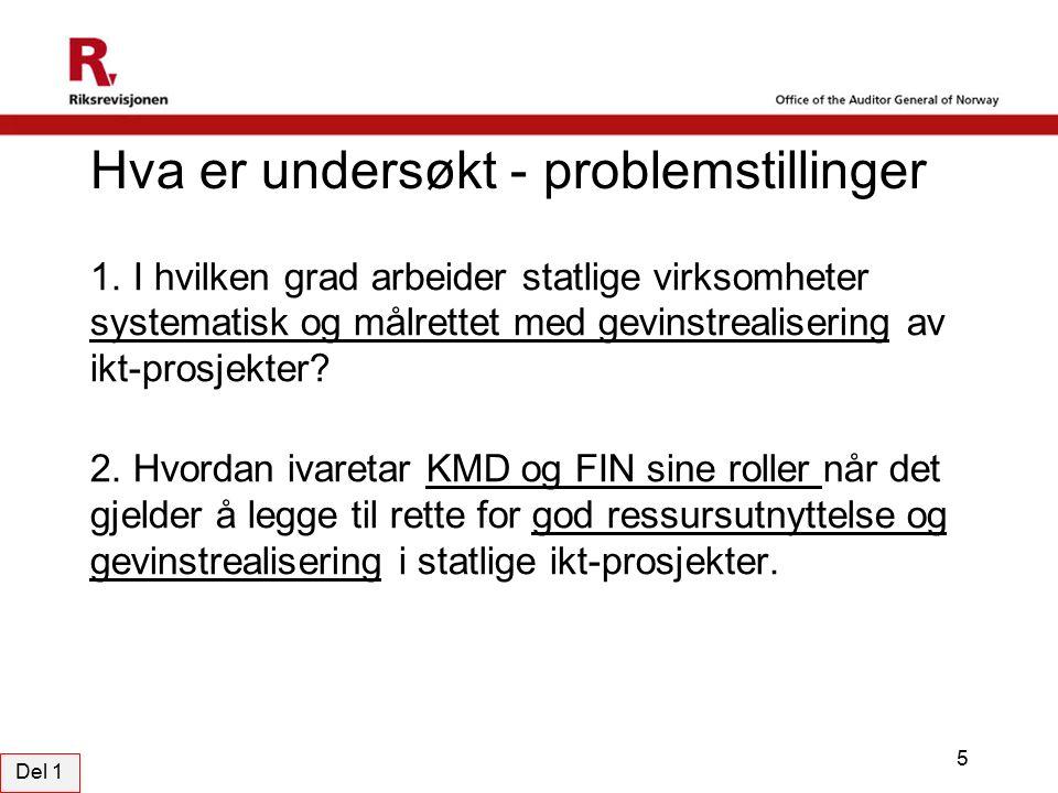 Hva er undersøkt - problemstillinger 1.