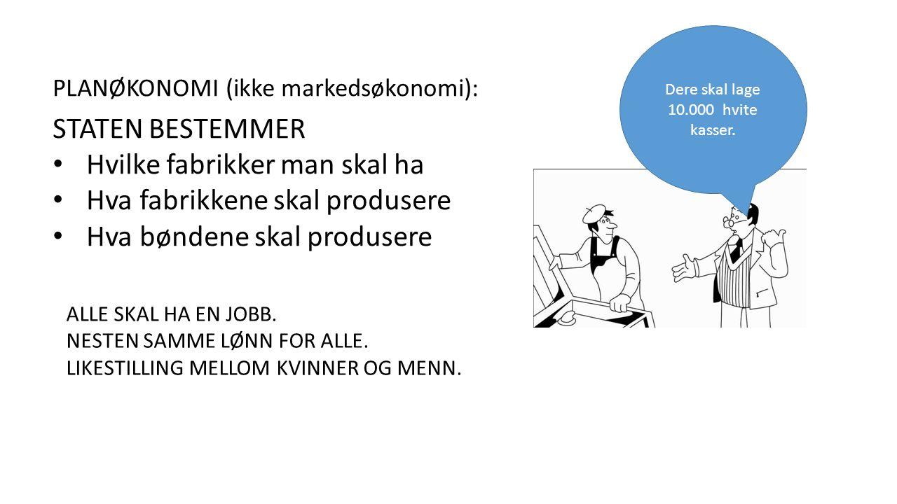 PLANØKONOMI (ikke markedsøkonomi): STATEN BESTEMMER Hvilke fabrikker man skal ha Hva fabrikkene skal produsere Hva bøndene skal produsere Dere skal lage 10.000 hvite kasser.