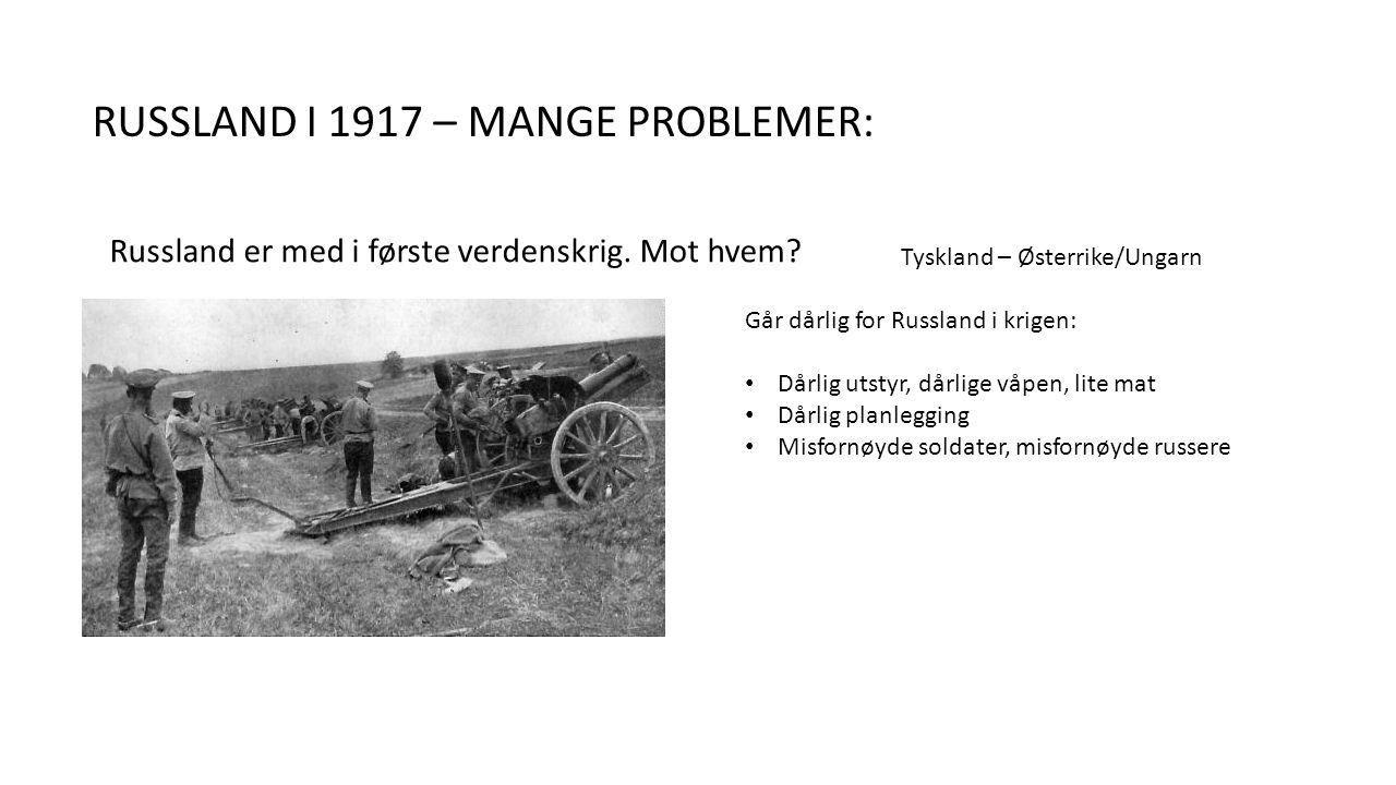 RUSSLAND I 1917 – MANGE PROBLEMER: Russland er med i første verdenskrig.