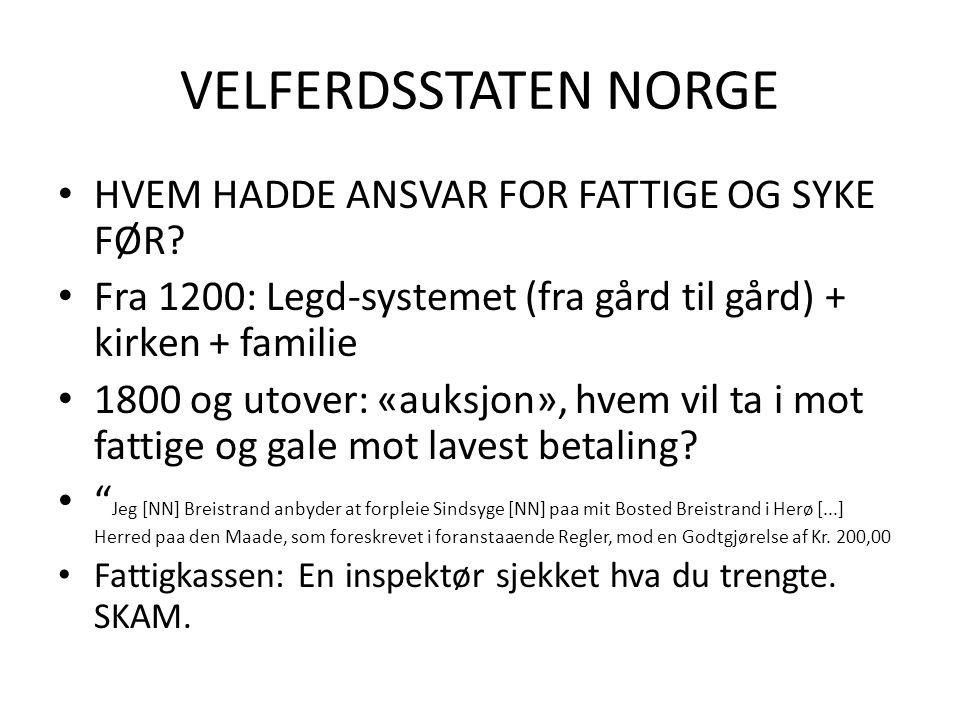 VELFERDSSTATEN NORGE HVEM HADDE ANSVAR FOR FATTIGE OG SYKE FØR.
