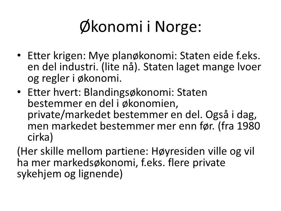 Økonomi i Norge: Etter krigen: Mye planøkonomi: Staten eide f.eks.