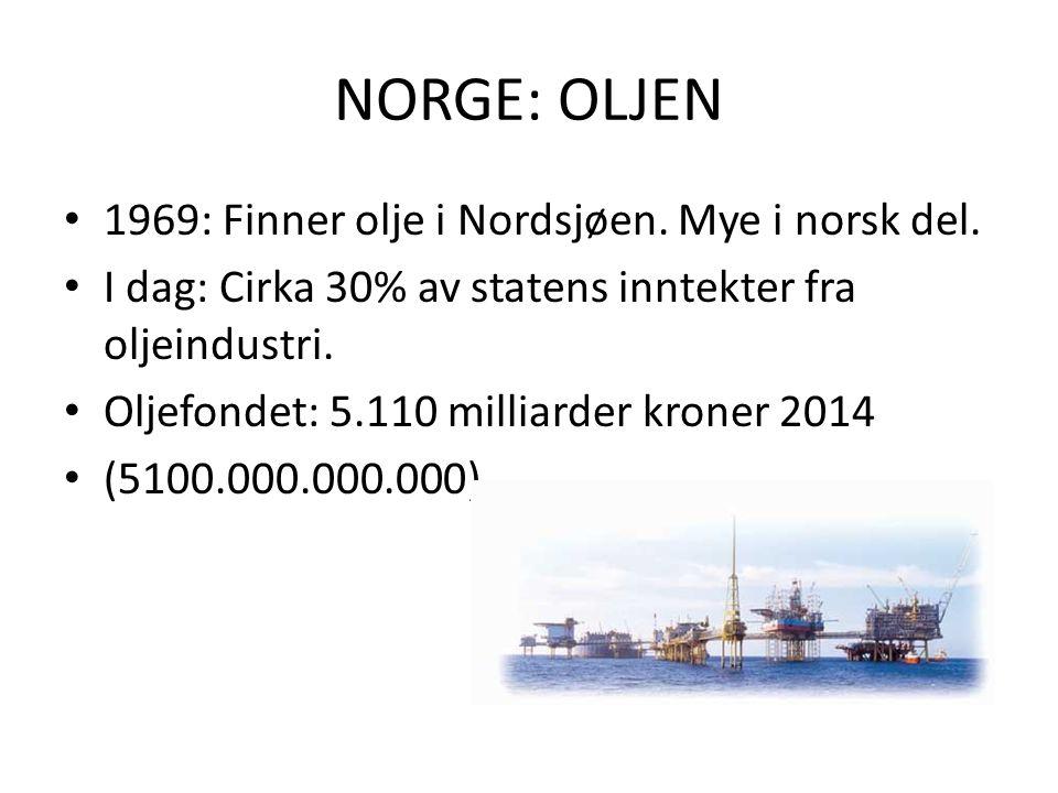 NORGE: OLJEN 1969: Finner olje i Nordsjøen. Mye i norsk del.