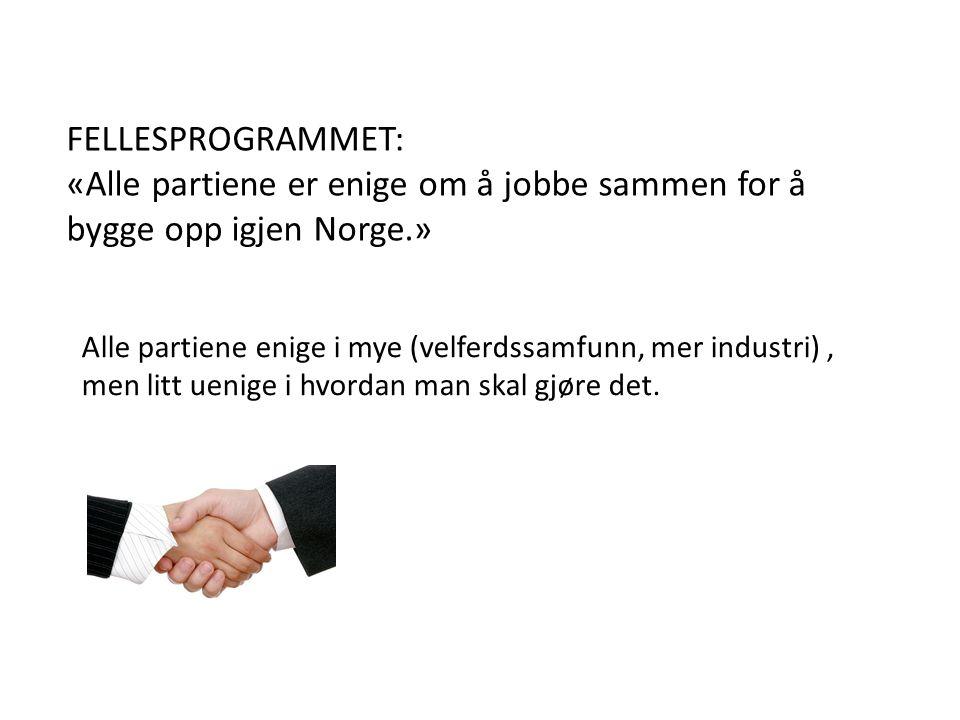 FELLESPROGRAMMET: «Alle partiene er enige om å jobbe sammen for å bygge opp igjen Norge.» Alle partiene enige i mye (velferdssamfunn, mer industri), men litt uenige i hvordan man skal gjøre det.