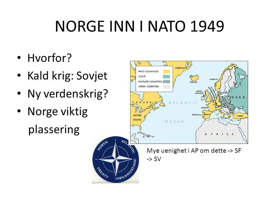 NORGE INN I NATO 1949 Hvorfor. Kald krig: Sovjet Ny verdenskrig.