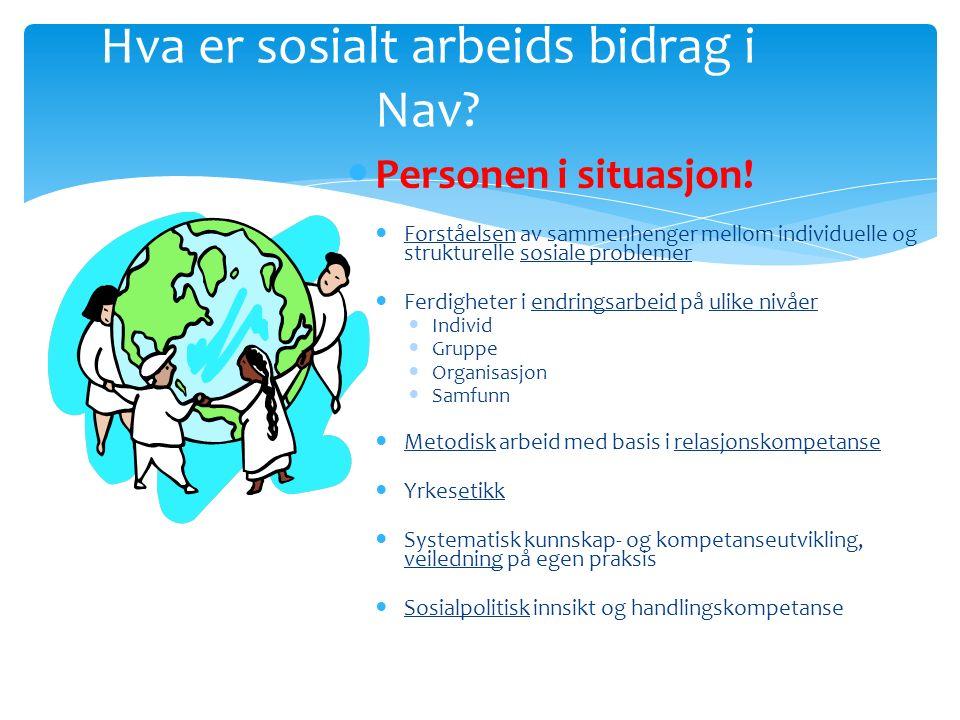 Hva er sosialt arbeids bidrag i Nav. Personen i situasjon.