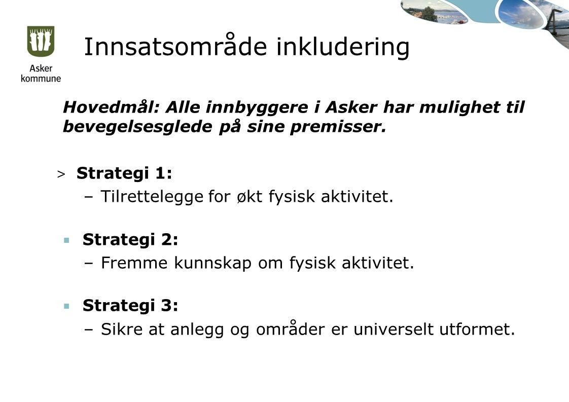 Innsatsområde inkludering Hovedmål: Alle innbyggere i Asker har mulighet til bevegelsesglede på sine premisser.