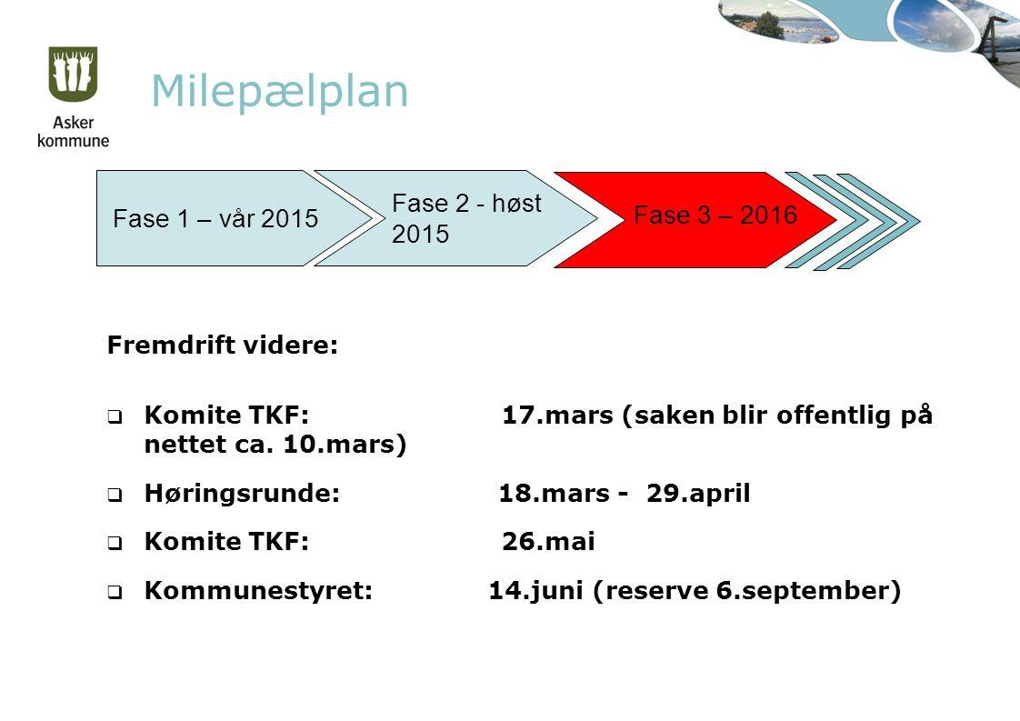 Milepælplan Fase 1 – vår 2015 Fase 2 - høst 2015 Fase 3 – 2016 Fremdrift videre:  Komite TKF: 17.mars (saken blir offentlig på nettet ca.