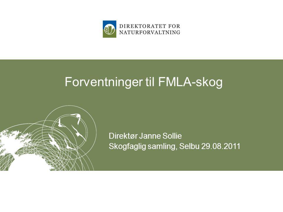 Forventninger til FMLA-skog Direktør Janne Sollie Skogfaglig samling, Selbu 29.08.2011