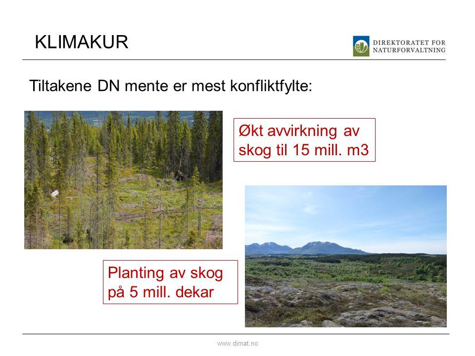 KLIMAKUR www.dirnat.no Økt avvirkning av skog til 15 mill.