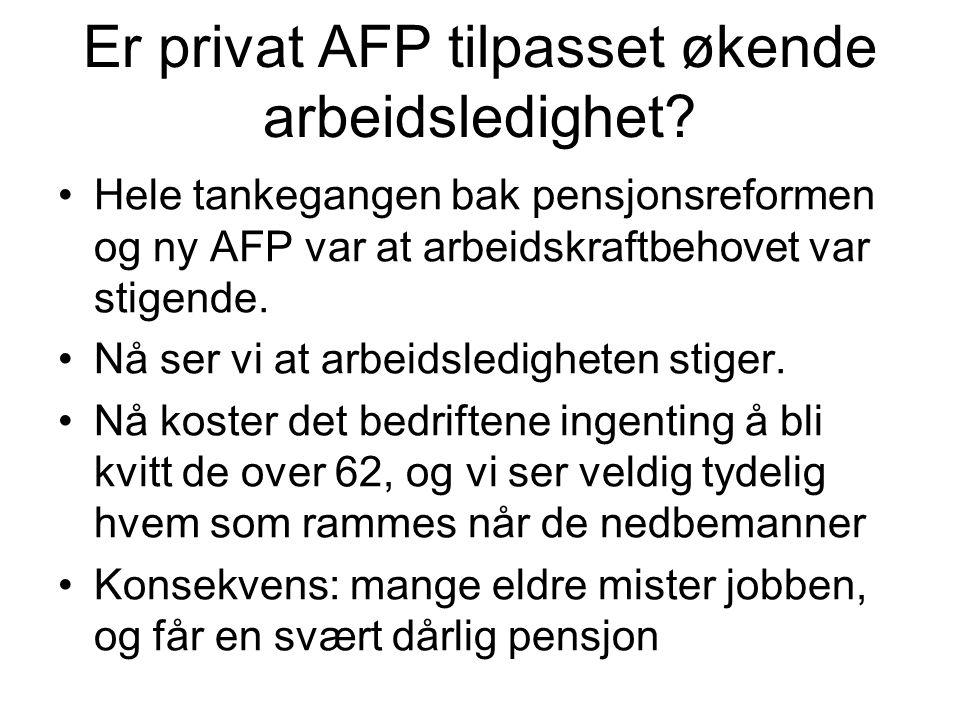 Er privat AFP tilpasset økende arbeidsledighet.