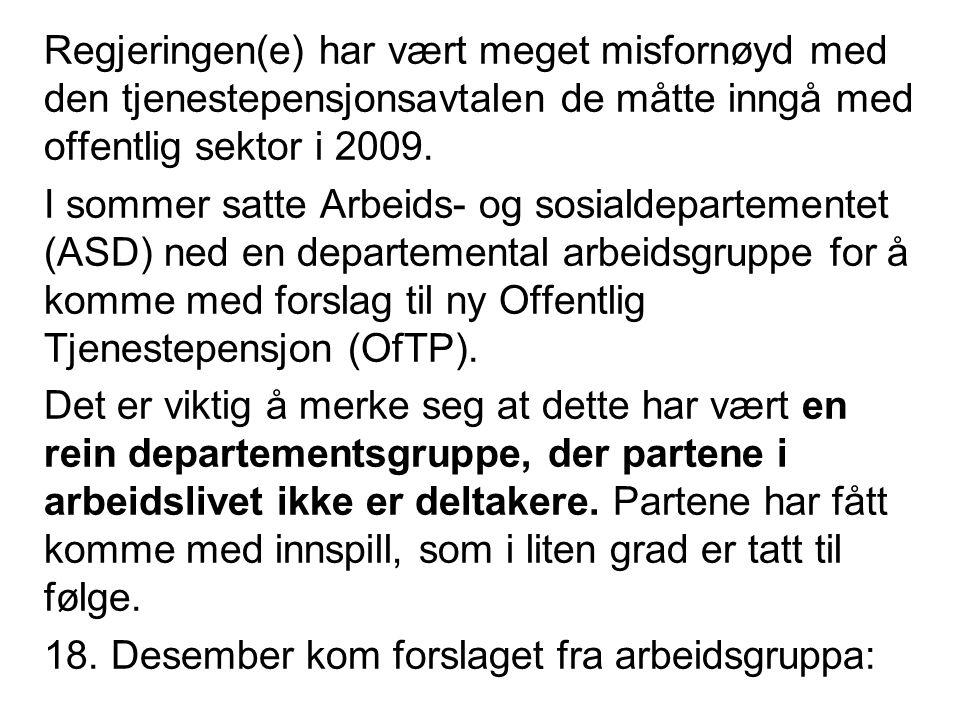Fagarbeider, sammenlikning dagens OfTP med forslaget til ny OfTP Delings/forholdstall og lønnstab.