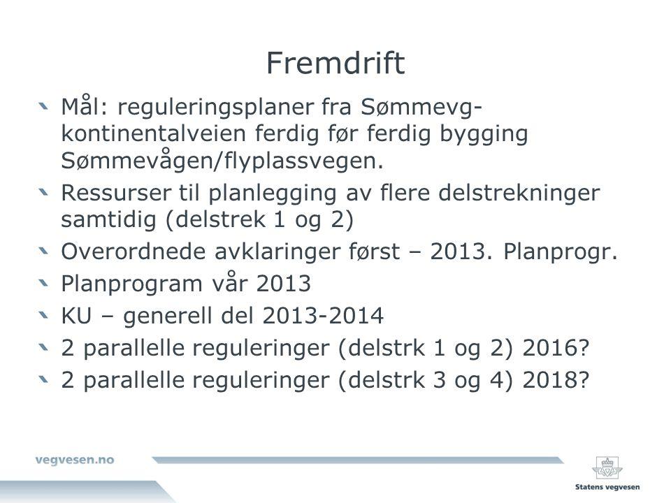 Fremdrift Mål: reguleringsplaner fra Sømmevg- kontinentalveien ferdig før ferdig bygging Sømmevågen/flyplassvegen.