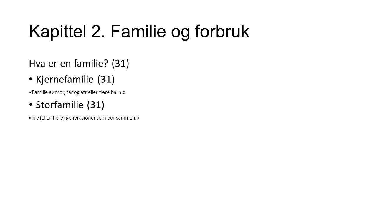 Kapittel 2. Familie og forbruk Hva er en familie.