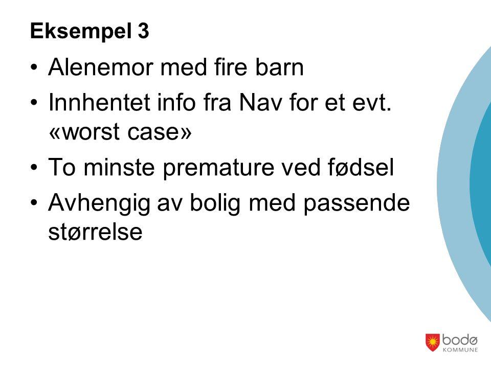 Eksempel 3 Alenemor med fire barn Innhentet info fra Nav for et evt.