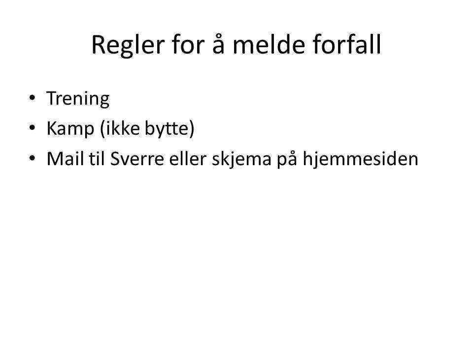 Regler for å melde forfall Trening Kamp (ikke bytte) Mail til Sverre eller skjema på hjemmesiden