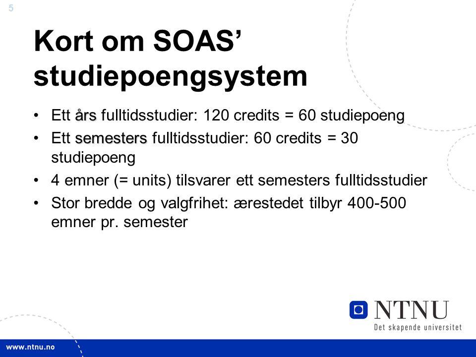 5 Kort om SOAS' studiepoengsystem årsEtt års fulltidsstudier: 120 credits = 60 studiepoeng semestersEtt semesters fulltidsstudier: 60 credits = 30 stu