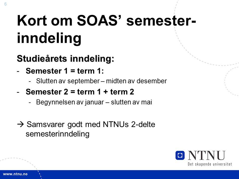 6 Kort om SOAS' semester- inndeling Studieårets inndeling: -Semester 1 = term 1: -Slutten av september – midten av desember -Semester 2 = term 1 + ter
