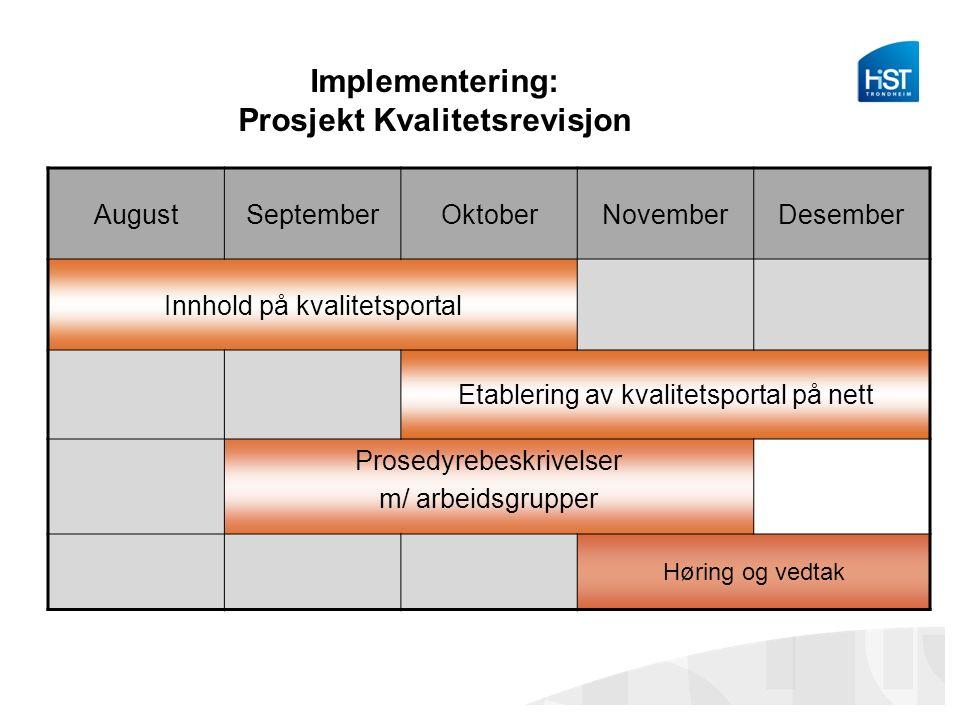 Implementering: Prosjekt Kvalitetsrevisjon AugustSeptemberOktoberNovemberDesember Innhold på kvalitetsportal Etablering av kvalitetsportal på nett Prosedyrebeskrivelser m/ arbeidsgrupper Høring og vedtak