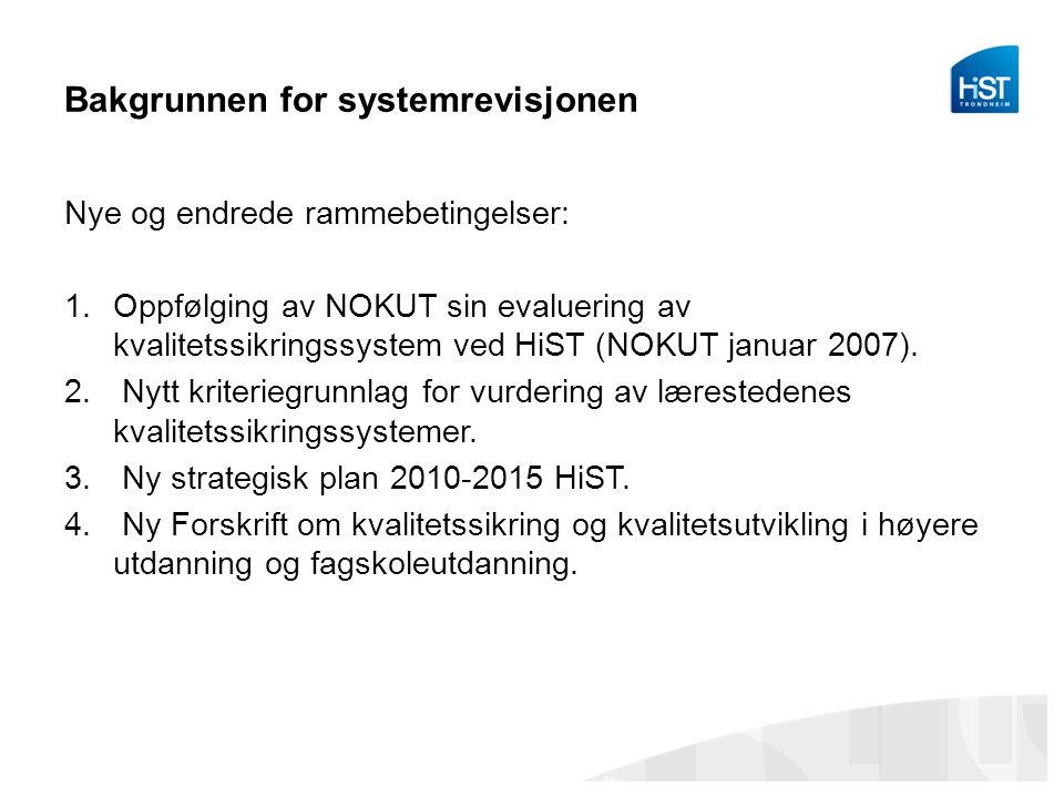 Bakgrunnen for systemrevisjonen Nye og endrede rammebetingelser: 1.Oppfølging av NOKUT sin evaluering av kvalitetssikringssystem ved HiST (NOKUT januar 2007).