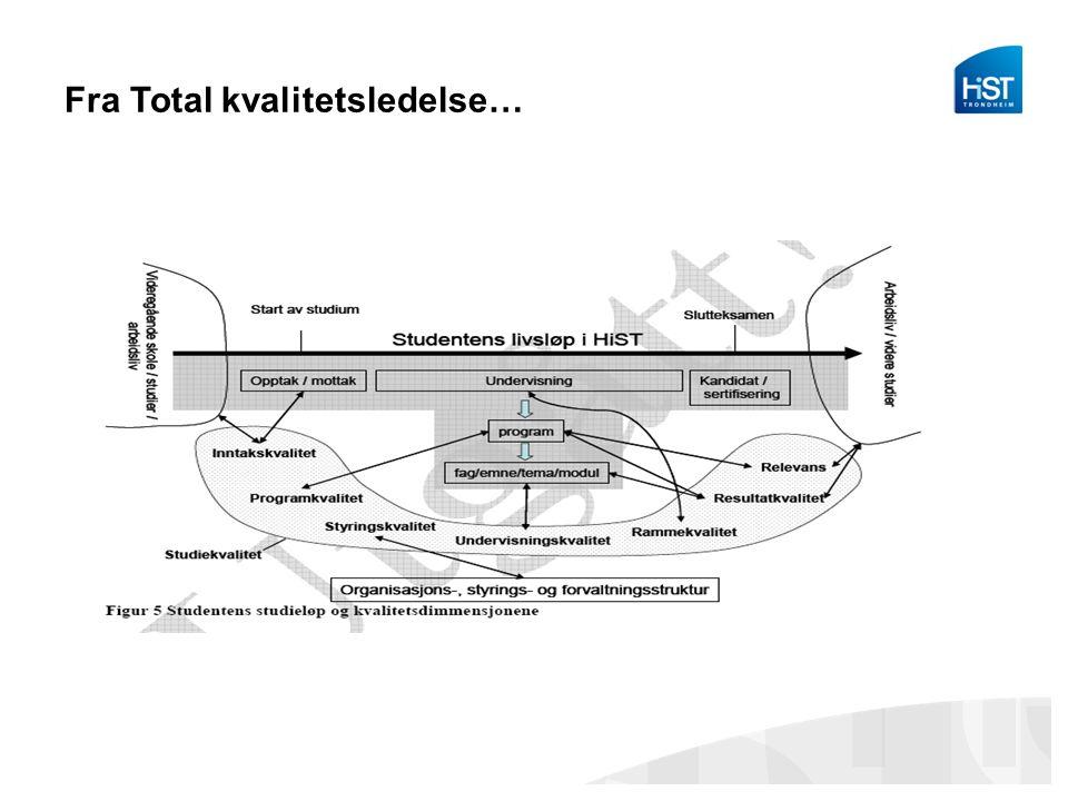 Fra Total kvalitetsledelse… TQM: Total Quality Management –Kvalitetssikre alle små og store prosesser