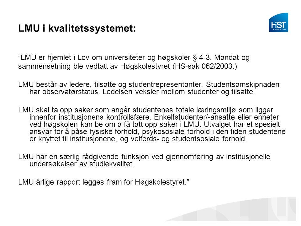 LMU i kvalitetssystemet: LMU er hjemlet i Lov om universiteter og høgskoler § 4-3.