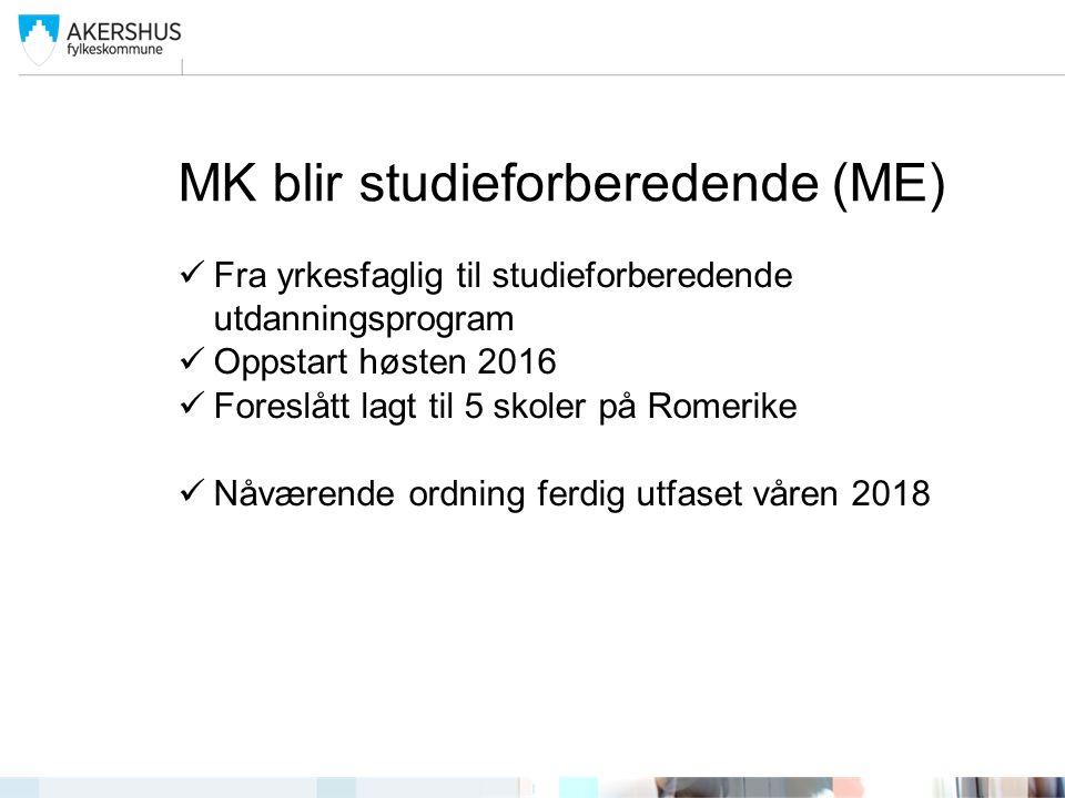 MK blir studieforberedende (ME) Fra yrkesfaglig til studieforberedende utdanningsprogram Oppstart høsten 2016 Foreslått lagt til 5 skoler på Romerike
